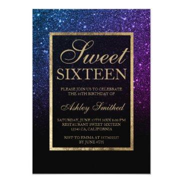 Small Purple Black Glitter Gold Elegant Chic Sweet 16 Invitation Front View