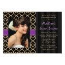 purple black gold moroccan sweet sixteen photo invitations