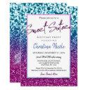 purple blue and bokeh lights glam sweet 16 invitation