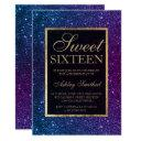purple blue glitter gold elegant chic sweet 16 invitation
