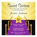 purple carpet hollywood sweet 16 birthday party invitation
