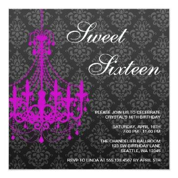 Small Purple Chandelier Black Damask Sweet 16 Birthday Invitations Front View