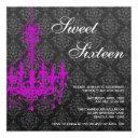 purple chandelier black damask sweet 16 birthday invitation