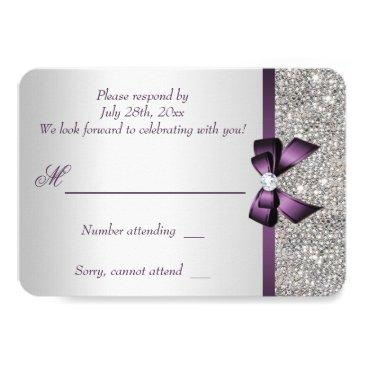 Small Purple Faux Bow Silver Sequins Diamond Rsvp Invitations Back View
