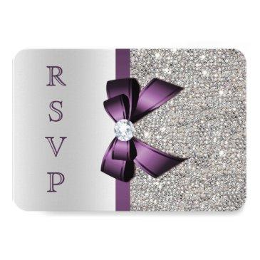 Small Purple Faux Bow Silver Sequins Diamond Rsvp Invitations Front View
