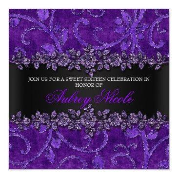 purple faux glitter & velvet floral sweet sixteen invitation