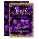 purple gold faux glitter lights sweet 16 birthday