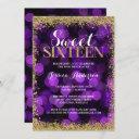 purple gold faux glitter lights sweet 16 birthday invitation