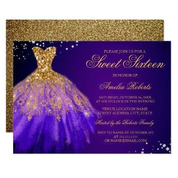 purple gold sparkle dress sweet sixteen invitations
