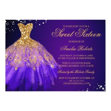 Small Purple Gold Sparkle Dress Sweet Sixteen Invitation Front View