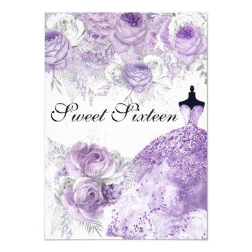 purple lavender rose dress sweet 16 invite