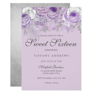 purple lavender silver flowers sweet 16 invite