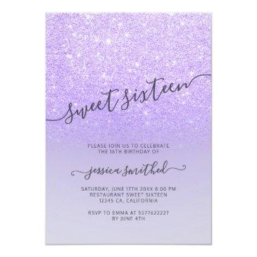 Small Purple Lilac Glitter Elegant Typography Sweet 16 Invitation Front View