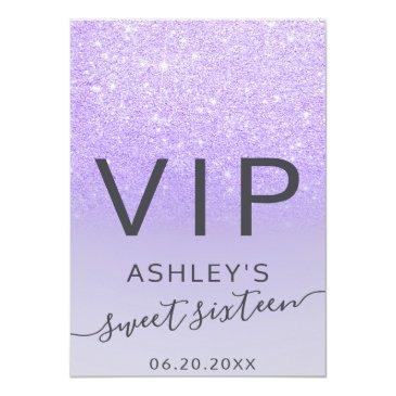 Small Purple Lilac Glitter Typography Sweet 16 Vip Badge Front View