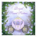 purple princess carriage enchanted sweet 16 invitation
