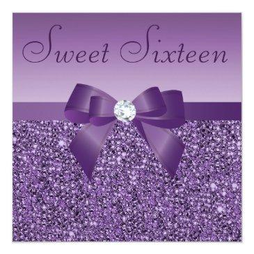 Small Purple Printed Sequins Bow & Diamond Sweet 16 Invitations Front View