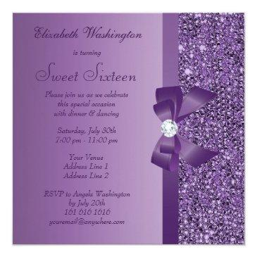 Small Purple Printed Sequins Bow & Diamond Sweet 16 Invitations Back View