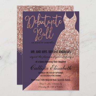 purple rose gold glitter dress debutante dance invitation
