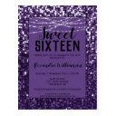 purple sequins/glitter chic sweet 16 invitation postinvitations