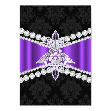 Small Purple Silver Black Tiara Sweet 16 Invitation Back View