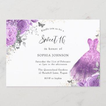 purple & silver dress & rose butterfly sweet 16 invitation