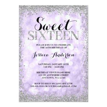 Small Purple Silver Faux Glitter Lights Sweet 16 Invitations Front View
