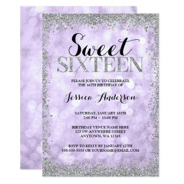 purple silver faux glitter lights sweet 16