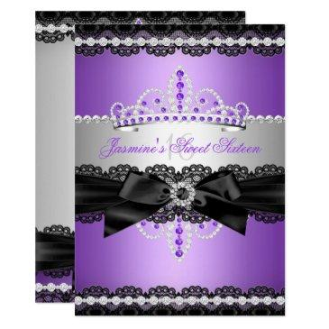 purple sweet 16 birthday party silver black lace