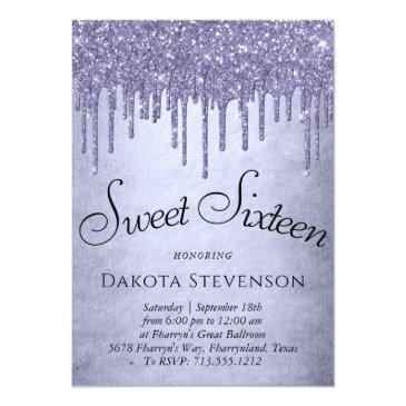 Small Purple Sweet 16 | Fancy Chic Lavender Glitter Drip Invitation Front View