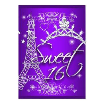 Small Purple Sweet 16 Sweet Sixteen Eiffel Tower Invitations Front View