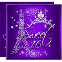 purple sweet 16 sweet sixteen eiffel tower invitation