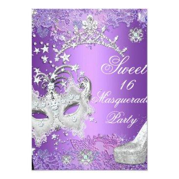 Small Purple Sweet Sixteen 16 Masquerade Party Tiara Invitation Front View