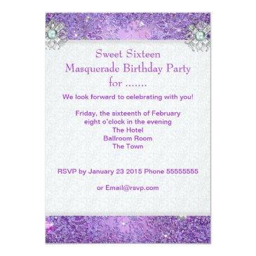 Small Purple Sweet Sixteen 16 Masquerade Party Tiara Invitation Back View