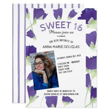 purple tulip sweet 16 invitations
