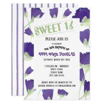 purple tulips with green sweet 16 invitation