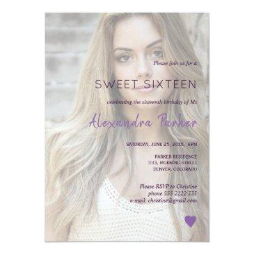 Small Purple Violet Heart Simple Photo Sweet Sixteen Invitation Front View