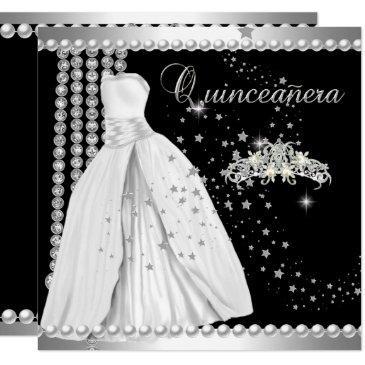 quinceanera 15 tiara gown black silver white