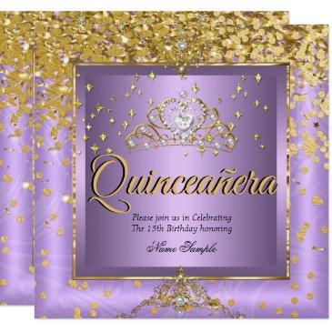 quinceanera birthday party gold lavender purple