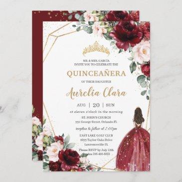 quinceañera burgundy blush floral gold princess invitation