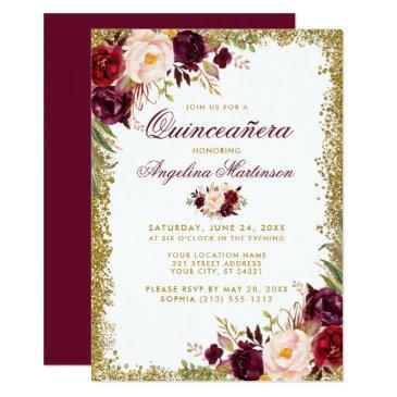 quinceanera burgundy floral gold glitter invite b