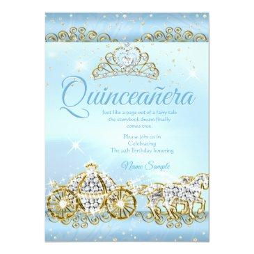 Small Quinceanera Cinderella Blue Fairytale Carriage 2 Invitation Front View