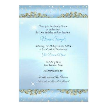 Small Quinceanera Cinderella Blue Fairytale Carriage 2 Invitation Back View
