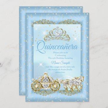 quinceanera cinderella blue fairytale carriage invitation