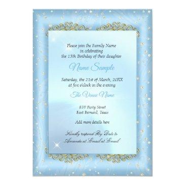 Small Quinceanera Cinderella Blue Fairytale Carriage Invitation Back View