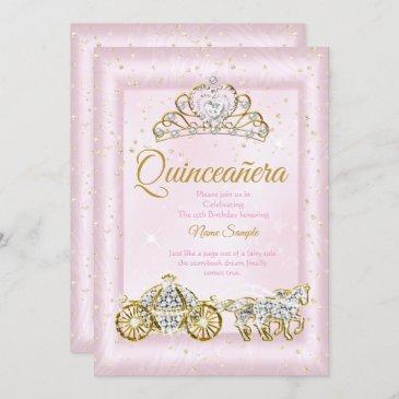quinceanera cinderella blush pink carriage invitation