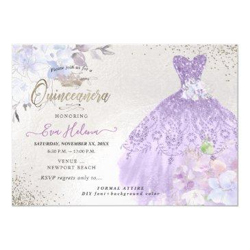 quinceañera glitters gown dusty purple lilac invitation