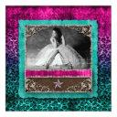 quinceanera leopard photo invitations western star