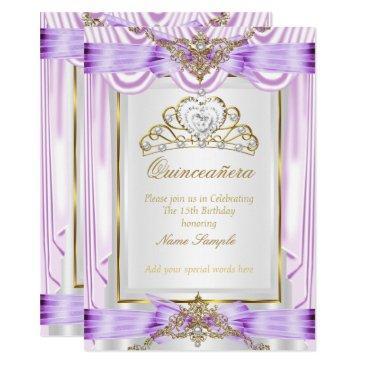 quinceanera lilac lavender purple gold white invitations