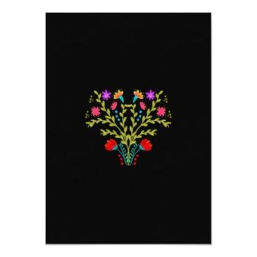 Small Quinceanera Mexican Fiesta Floral Black Birthday Invitation Back View