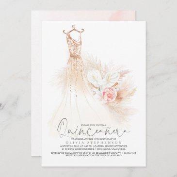 quinceañera pampas grass gold dress 15th birthday invitation